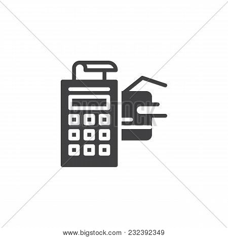 Pos Terminal With Credit Card And Receipt Vector Icon. Filled Flat Sign For Mobile Concept And Web D