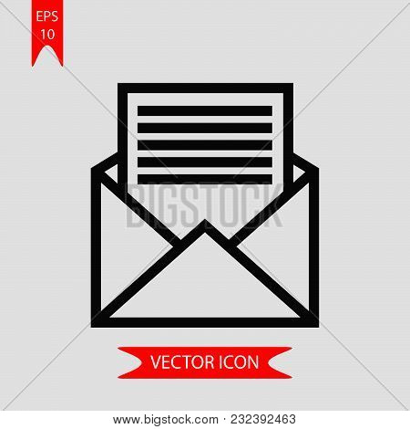 Open Envelope Icon Vector In Modern Flat Style For Web, Graphic And Mobile Design. Open Envelope Ico