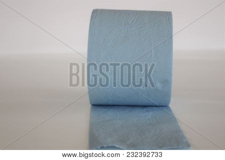 Toilet Paper. Blue Toilet Paper. Home Hygiene Roll.