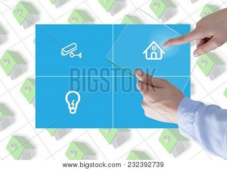 Digital composite of Hand touching a glass tablet and Home automation system App Interface