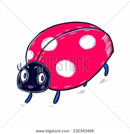 Cute Ladybird Colorful Painting For Kids Room Interior, Prints, Clothes, Textile, Wrapping Paper, Sc