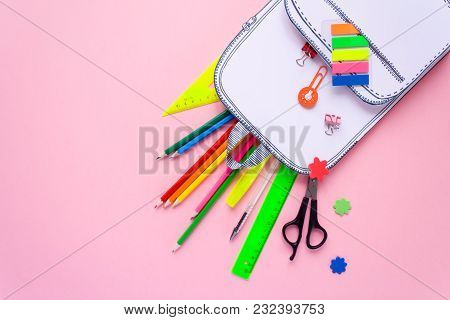 Creative School Bag Made Of Paper With School Stationery On Pink Background. Trendy Concept. Hurray
