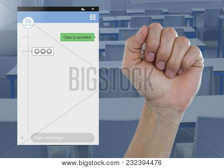 Digital composite of Hand in fist Social Media Messenger App Interface in students class