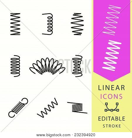 Spring Vector Icons Set. Black Illustration Isolated For Graphic And Web Design. Editable Stroke.