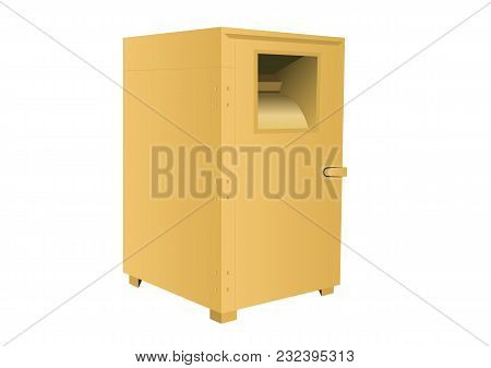 Clothes Bank, Donation Box, Yellow Container Isolated