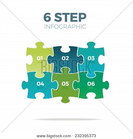 Six Step Puzzle Infographic On White Background
