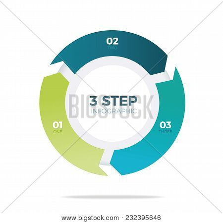 Three Step Circle Infographic On White Background