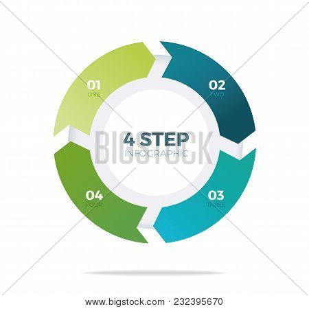 Four Step Circle Infographic On White Background