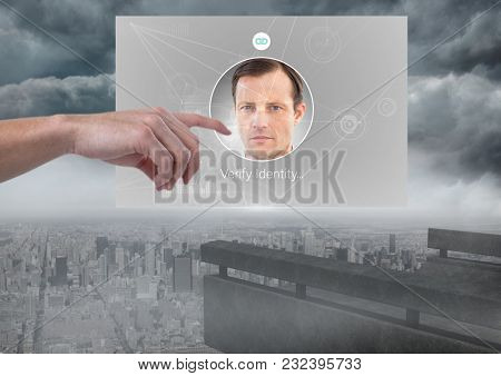 Digital composite of Hand Touching Identity Verify App Interface