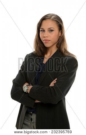 Portrait of young African American businesswoman with arms crossed isolated over white background