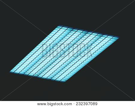 Luminous Ceiling Of Square Panels, Blue Toned Light. Fluorescent Lamps On The Modern Ceiling.
