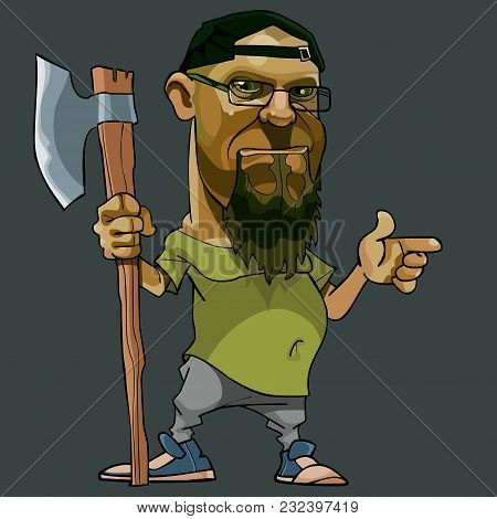 Cartoon Bearded Man With Glasses And A Big Ax In His Hand