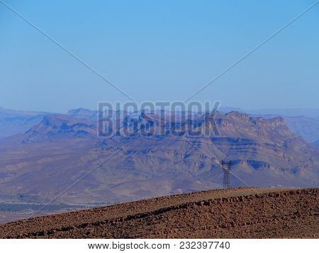 Rocky Canyon And Sahara Desert At Atlas Mountains Range Landscapes In Southeastern Morocco Near Old