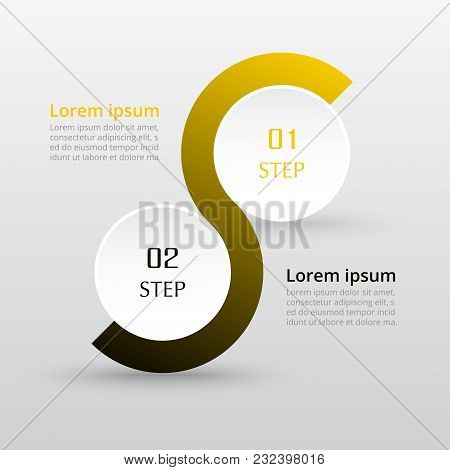 Step By Step Infographic. Template With 2 Numbers Can Be Used For Workflow Layout, Diagram, Chart, N