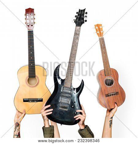 Variation hands holding guitars
