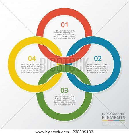 Abstract Infographic Template With 4 Steps For Success. Business Circle Template With Four Options F