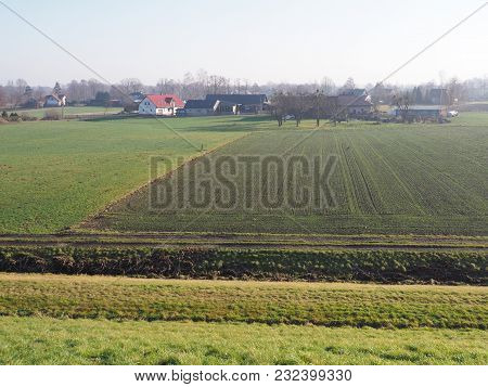 Panorama Of Countryside Landscapes Of Green Grassy Field Next To Artificial Goczalkowice Reservoir I