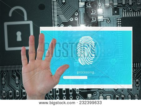 Digital composite of Hand open and Identity Verify security fingerprint App Interface