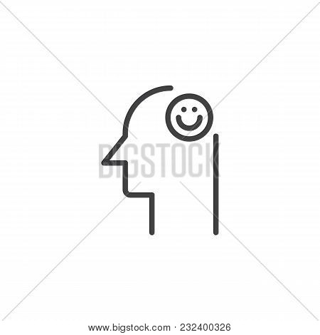 Smile Emoticon In Human Head Outline Icon. Linear Style Sign For Mobile Concept And Web Design. Good