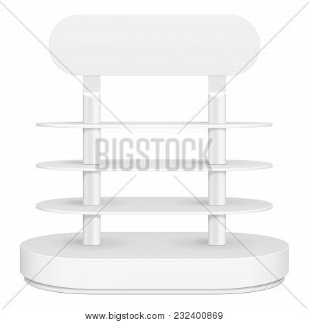 Rounded Cardboard Floor Display Rack For Supermarket Blank Empty With Shelves. On White Background I