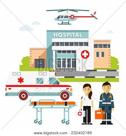 Hospital Building, Young Doctors Man And Woman, Paramedic Ambulance Car And Medical Helicopter.