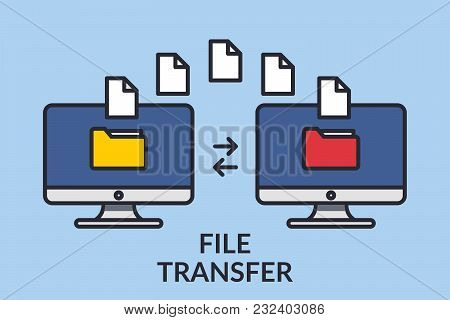 File Transfer. Two Computers With Folders On The Screen And Documents Sent. Copy Files, Exchange Dat