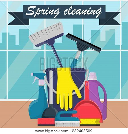 Spring Cleaning Concept. Bucket, Scoop And Brush For Sweeping, Washing Powder, Bottle Of Spray, Spon