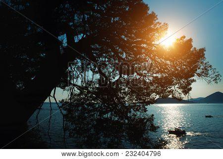 Beautiful Sunset In Budva. Montenegro. Adriatic Sea