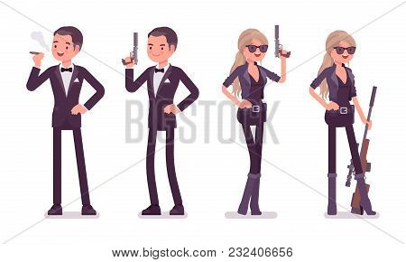 Secret Agent Man And Woman, Gentleman And Lady Spy Of Intelligence Service, Watcher To Uncover Data,