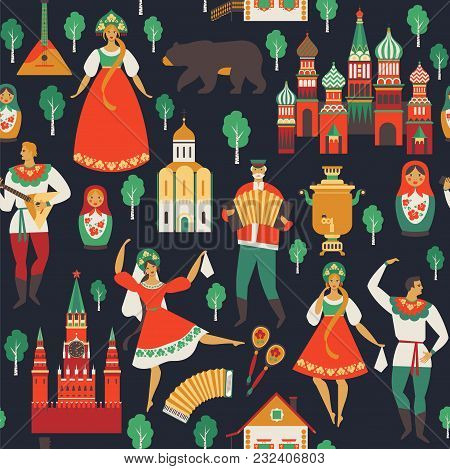 Russian Sights And Folk Art Flat Design Vector Illustration. Seamless Pattern Vector.