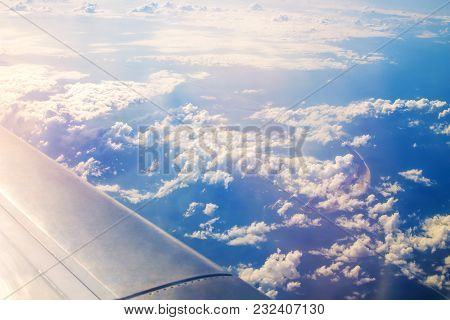 Plane Window View Of Tendra Spit In The Black Sea