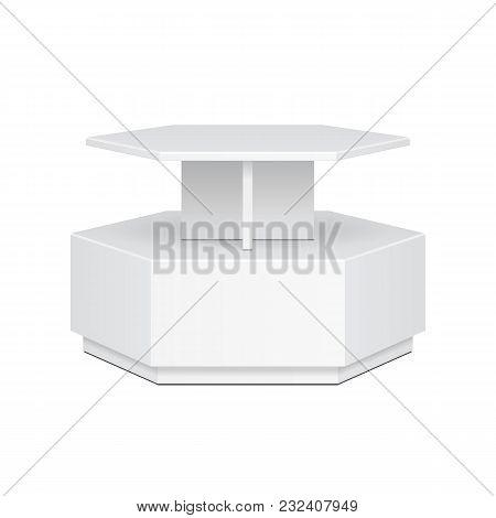 Hexagon, Hexagonal Pos Poi Cardboard Floor Display Rack For Supermarket Blank Empty Display. Mock Up