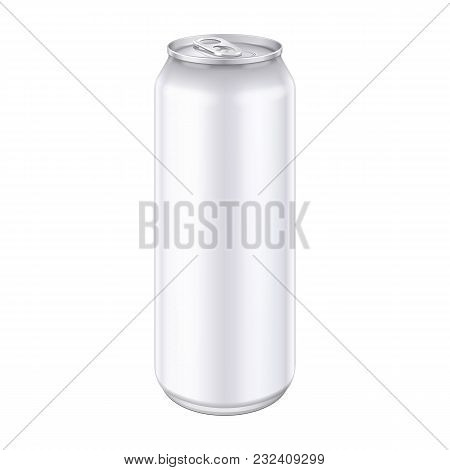 Metal Aluminum Beverage Drink Can 500ml, 0, 5l. Mockup Template Ready For Your Design. Isolated On W