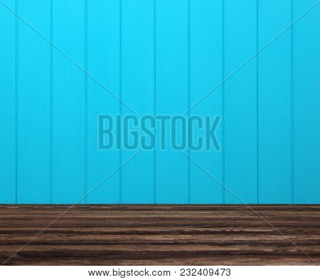 Wood texture. Background blue planks