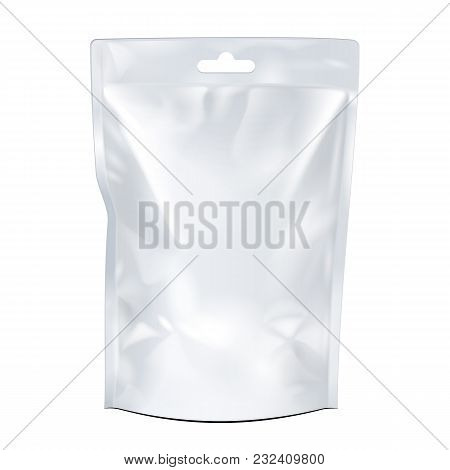 Blank Food Flexible Pouch Bag With Hang Slot. Mock Up, Template. Illustration Isolated On White Back