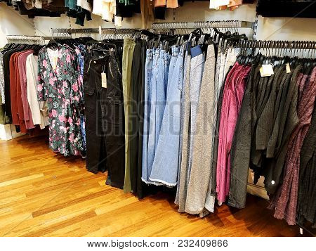 Rishon Le Zion, Israel- December 29, 2017: Modern Clothes In A Shop On A Hanger. Shirts And Sweaters