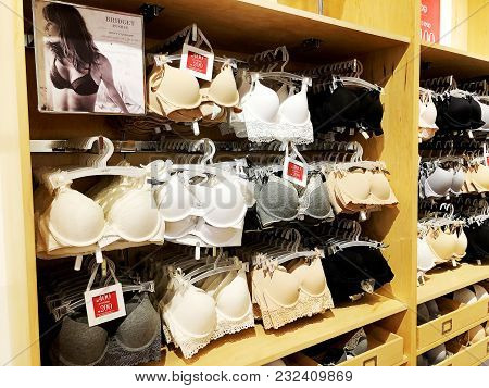 Rishon Le Zion, Israel- December 29, 2017: Women Bras Close-up. Many Different Sexy Bras Lingerie In