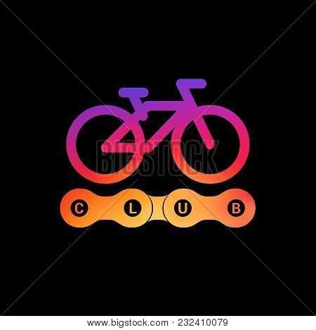 Bike Club Vector Emblem. Modern Bright Gradient. Bicycle Path Sign, Symbol. Bike Chain Vector Link.