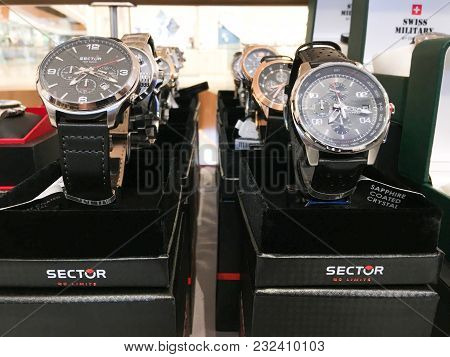 Rishon Le Zion, Israel- December 17, 2017: Watch Clocks Exposed In A Store.