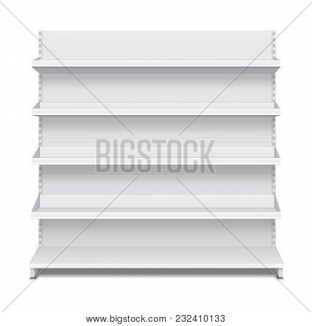Long Blank Empty Showcase Displays With Retail Shelves Front View 3d Products On White Background Is