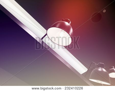 Table Lamp Of Illumination, A Lamp For Web Design. Stylish Light Bulb In The Cabin