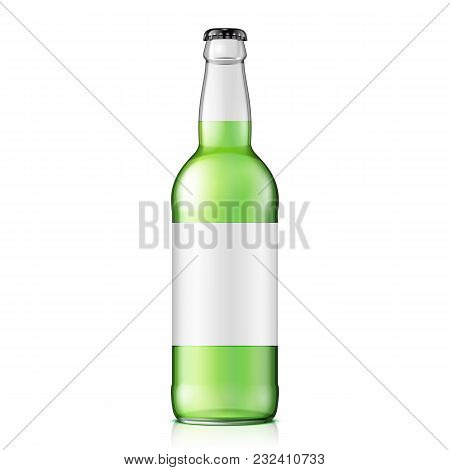 Glass Green Water Bottle. Carbonated Soft Drink With Label. Mock Up Template. Illustration Isolated