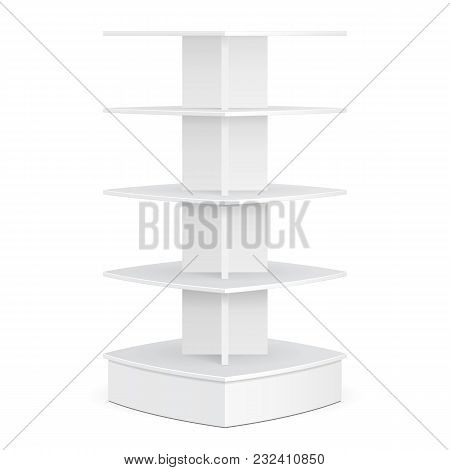 Square Rounded Pos Poi Cardboard Floor Display Rack For Supermarket. Blank Empty Mock Up On White Ba