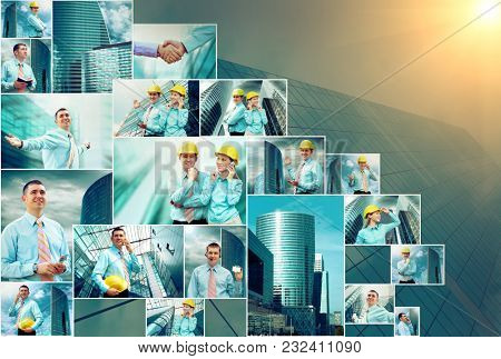 Business collage of many businessman's images under sunset sky and skyscraper background.