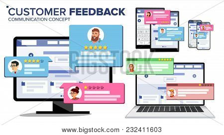 Customer Review Page On Computer Monitor, Laptop, Tablet, Mobile Phone Vector. Client Testimonials.