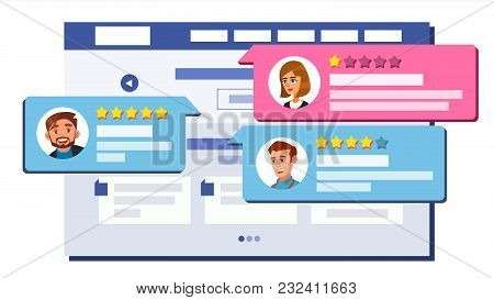 Review Rating Web Page Design Vector. Online Store, Shop, Market. Client Testimonials Concept. Good,