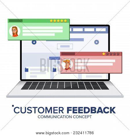Customer Feedback Rating On Laptop Vector. Speech Bubbles. Client Testimonials Concept. Good, Bad Ra