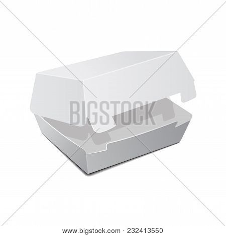 Open Food Box, Packaging For Burger, Lunch, Fast Food, Sandwich. Vector Product Package On White Bac