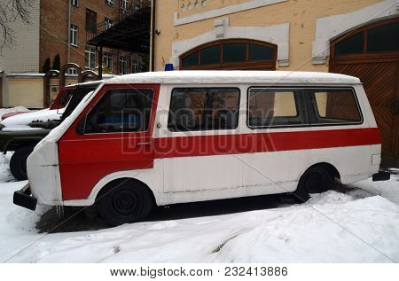 Vintage Soviet ambulance. Museum of the History of Chernobyl Disaster. Exterior. March 20, 2018 in Kiev,Ukraine