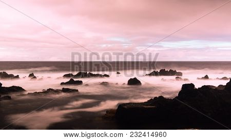 Seashore Of The Bay Of Pombas Aka Doves In Long Exposure And Slow Shutter Speed At Biscoitos At Terc